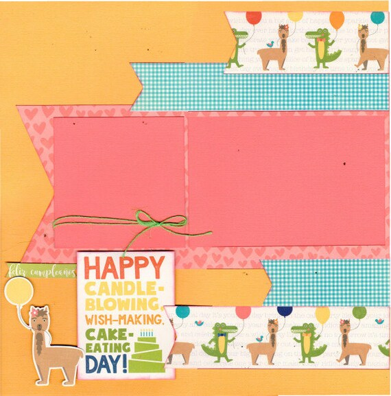 Happy Candle Blowing, Wish-Making, Cake - Eating Day!  2 Page Scrapbooking layout KIt