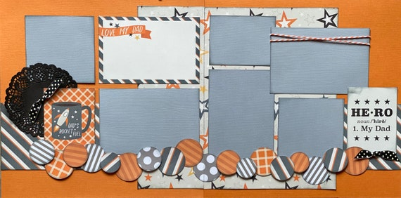 Love My Dad - Hero 2 Page Scrapbooking Layout Kit or Pre Made Pages