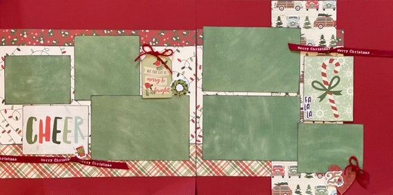 CHEER - May Your Days Be Merry and Bright 2 Page Scrapbooking layout Kit or Premade Scrapbooking Pages
