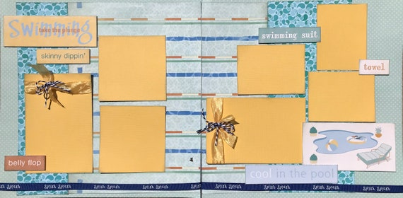 Swimming - Take the Plunge, 2 Page Scrapbooking Layout Kit or Premade Scrapbooking Pages