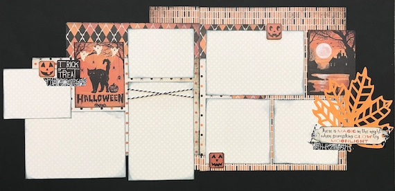 Trick or Treat - Halloween 2 Page Scrapbooking Layout Kit or Premade Scrapbooking Pages