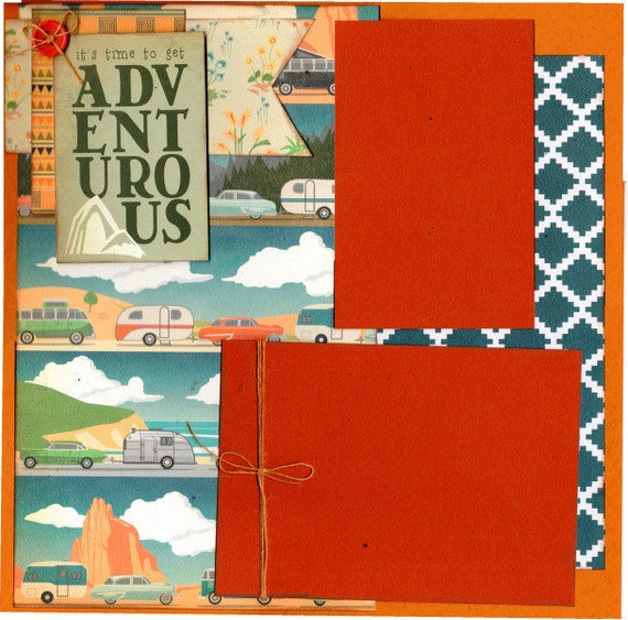 It's time to get Adventurous Camping, 2 Page Scrapbooking Layout Kit