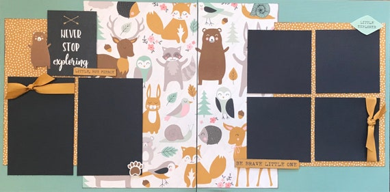 Never Stop Exploring - Be Brave Little One 2 page Scrapbooking Layout Kit or Pre Made Pages