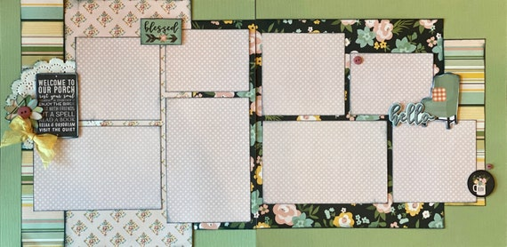 Welcome To Our Porch - Blessed - Spring 2 Page Scrapbooking Layout Kit or Premade Scrapbooking Pages