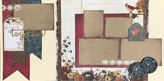 This Moment Together 2 Page Scrapbooking Layout Kit or Premade Scrapbooking Pages