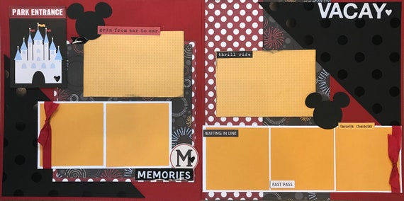 Park Entrance / Memories  Disney Inspired 2 page Scrapbooking layout Kit or Premade Scrapbooking Pages