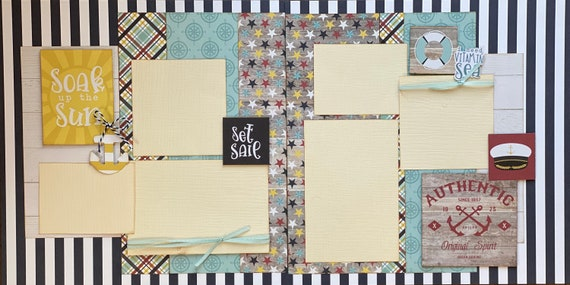 Soak Up the Sun - Set Sail 2 page scrapbooking layout Kit or Premade Scrapbooking Pages