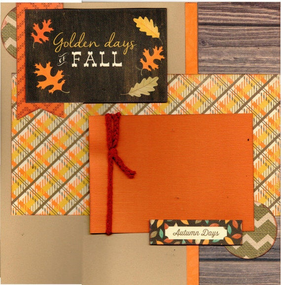 The Golden Days  of Fall, Autumn 2 Page Scrapbooking Layout Kit