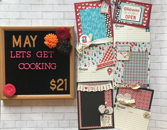 Lets Get Cooking  MAY - 3 - 2 Page Scrapbooking Layout Kits