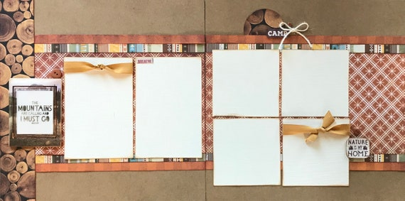 The Mountains are Calling and I Must Go 2 Page Scrapbooking Layout Kit or Premade Scrapbooking Pages
