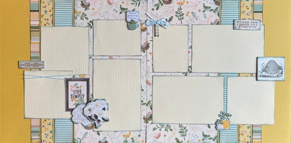 Love Grows Here - Live Simply  2 page scrapbooking layout kit or Premade Scrapbooking Pages