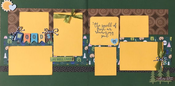 The Smell of Fresh Air Renews My Soul - Nature is Good for You 2 page Scrapbooking Layout Kit or Premade Scrapbooking Pages