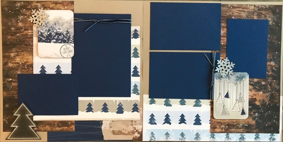 Merry Christmas Tree page Scrapbooking layout kit or Scrapbooking Premade Pages