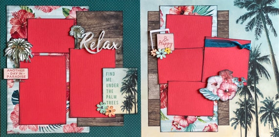 Relax - Find me Under the Palm Trees 2 Page Scrapbooking Layout Kit or Premade Scrapbooking Pages
