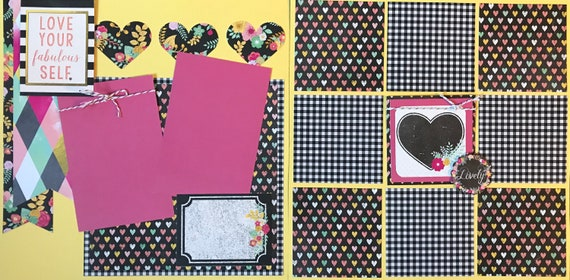 Love Your Fabulous Self!  Lovely 2 Page Scrapbooking layout KIt or Premade Scrapbooking Pages