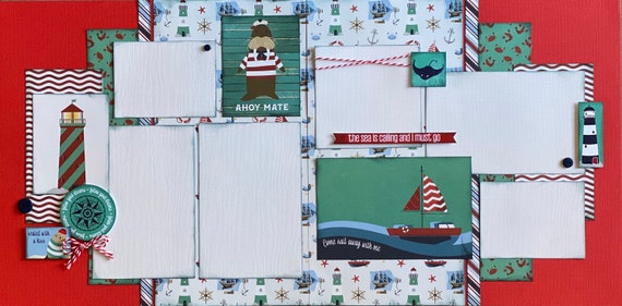 Ahoy Mate - the Sea is Calling and I Must Go 2 page scrapbooking layout Kit or Premade Scrapbooking Pages