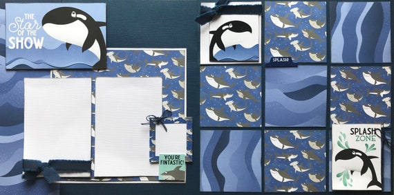 Star of the Show - Sea World Inspired  2 Page Scrapbooking Layout Kit or Premade Scrapbooking Pages