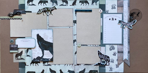 Find Your Brave - Explore More, Stay Curious, Wild&Free  2 page Scrapbooking Layout Kit or Premade Scrapbooking Pages