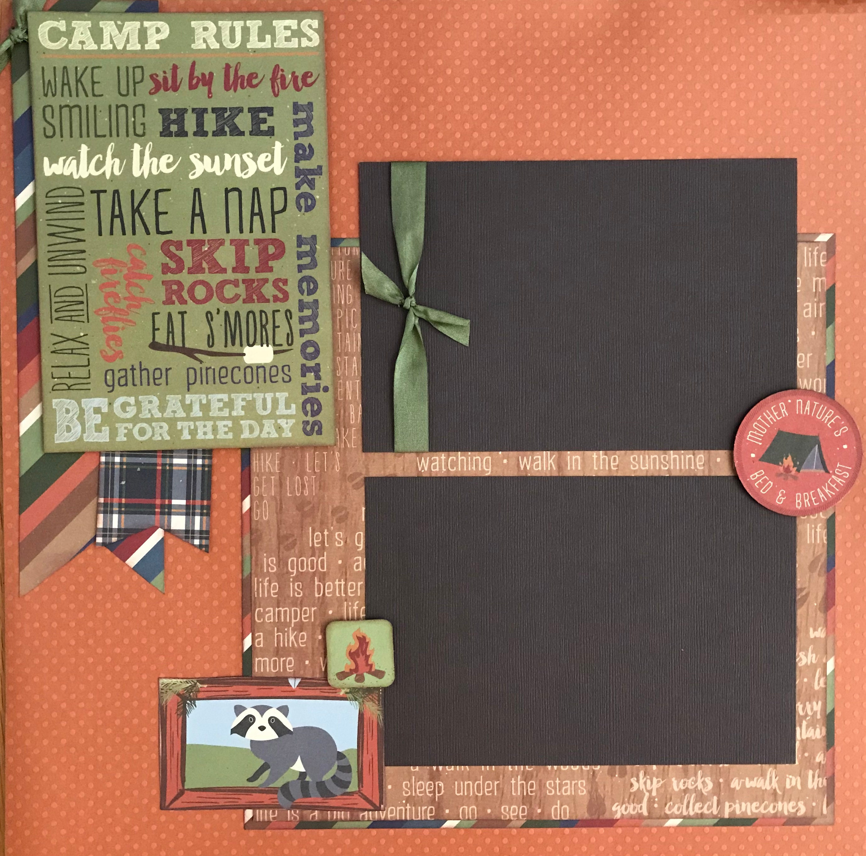 Sit by the Fire Hike.. 2 page Scrapbooking Layout Kit or Premade Pages Camp Rules- Wake up Smiling