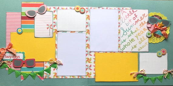 A Little Bit of Summer is What the Whole Year is About 2 Page Scrapbooking Layout Kit or Premade Scrapbooking Pages