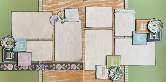 Little One  - Baby Blocks 2 page Scrapbooking Layout Kit or Pre Made Pages