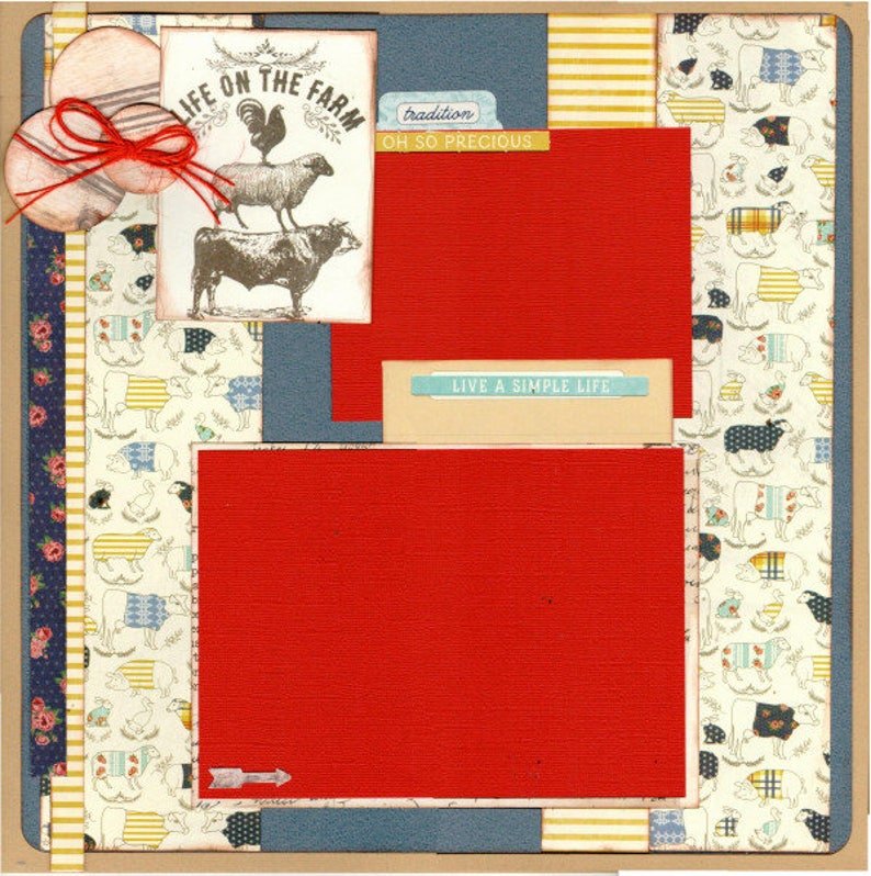 Life on the Farm Our Little Slice of Heaven  2 Page Scrapbooking Layout Kit