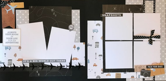 Always Keep Room in Your Life for an Adventure -  It's A Big World Out There 2 page Scrapbooking layout kit or Premade Scrapbooking Pages