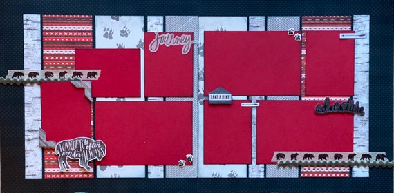 Wander Often, Wonder Always - Journey 2 page Scrapbooking Layout Kit or Premade Scrapbooking Pages