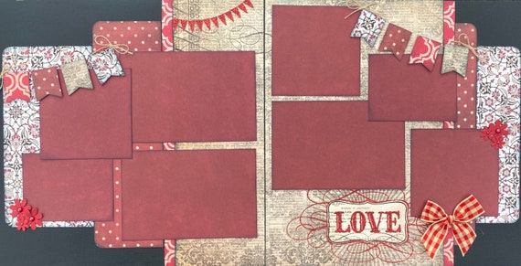 LOVE 2 Page Scrapbooking Layout Kit or Premade Scrapbooking Pages