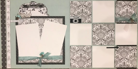 Bridal Shower - It Was Wonderful 2 Page Scrapbooking Layout Kit or Premade Scrapbooking Pages