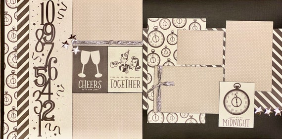 Cheers to a New Year!  Kiss me at Midnight 2 page Scrapbooking Layout Kit or remade Scrapbooking Pages