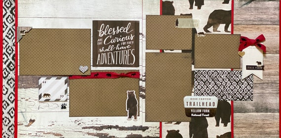 Blessed are the Curious for they Shall Have Adventures  2 page Scrapbooking Layout Kit or Premade Scrapbooking Pages
