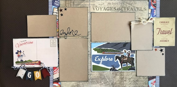 It's time for Vacation 2 page Scrapbooking layout kit or Premade Scrapbooking Pages