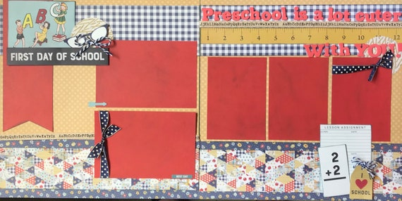 Pre-K / Preschool  Scrapbooking Kit Bundle -  4 page Scrapbooking Layout Kit or Pre Made Pages - 2 - 2 Page layout kits
