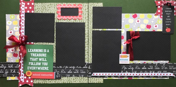 Learning is a Treasure that will Follow you Everywhere 2 page scrapbooking kit or Premade Scrapbooking Pages
