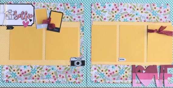 Selfie - 2 Page Scrapbooking Layout Kit or Scrapbooking PreMade Pages