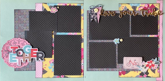 Together - Love Your Tribe 2 page Scrapbooking Layout Kit or Premade Scrapbooking Pages