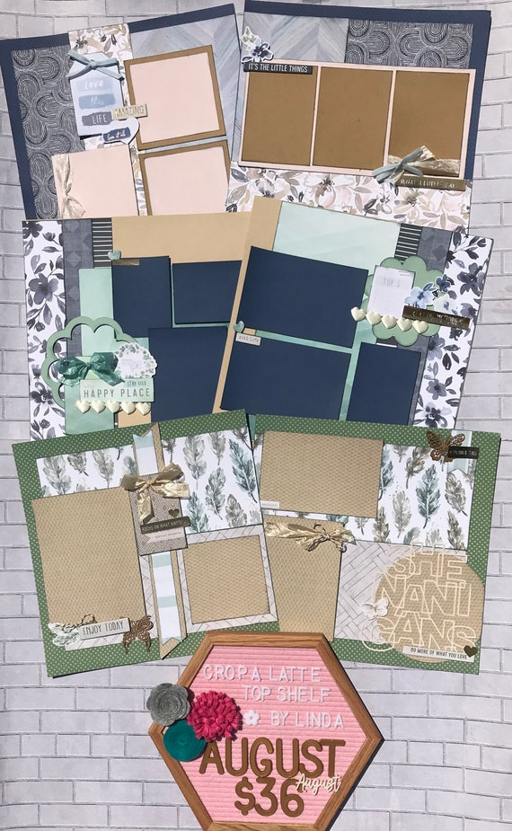 Top Shelf Kit Club August - 3 - 2 Page Scrapbooking Layout Kits - Pink Paislee Indigo and Ivy
