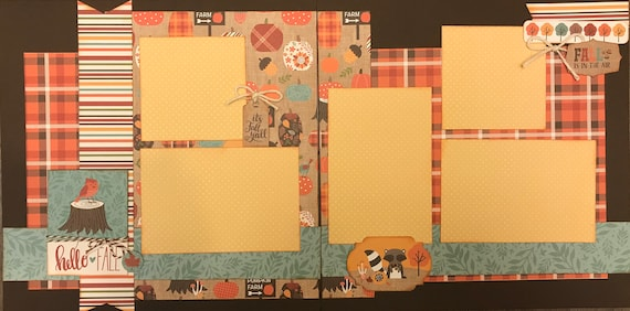 Hello Fall - It's Fall Y'All 2 Page Scrapbooking Layout Kit or Pre-Made Scrapbooking Pages