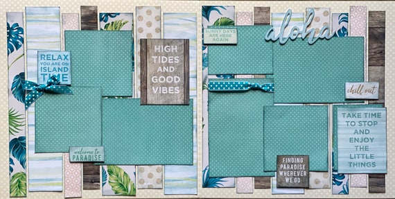 High Tides and Good Vibes 2 Page Scrapbooking Layout Kit or Premade Scrapbooking Pages