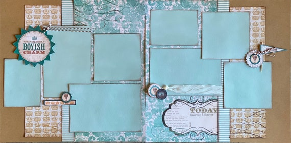 You Have Such a Boyish Charm 2 page Scrapbooking layout kit or Premade Scrapbooking Pages