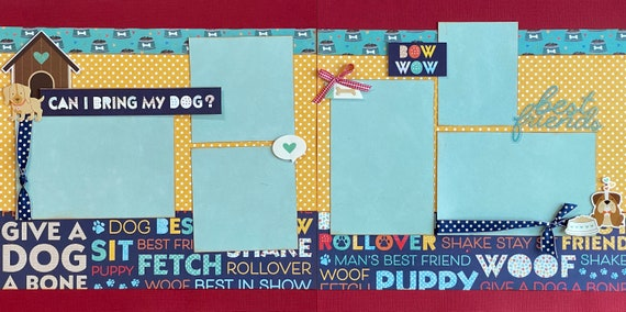Can I Bring my Dog?  Bow Wow  2 Page Scrapbooking Layout Kit or Premade Scrapbooking Pages