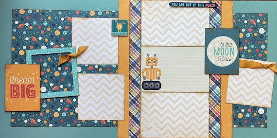 Dream Big - To the Moon and Back 2 Page Scrapbooking Layout Kit or Premade Scrapbooking Pages