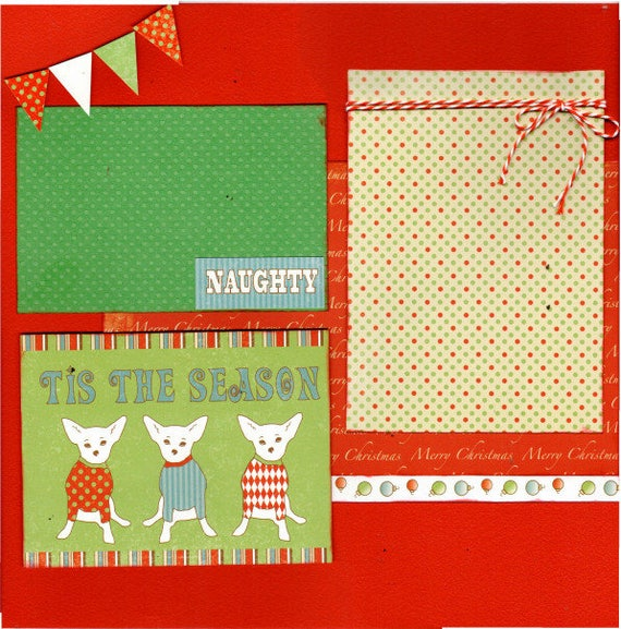 Tis the Season, Bark the Herald Angels Sing - Dog Christmas, 2 Page Scrapbooking Layout Kit