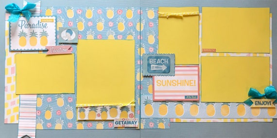 Paradise - Pineapple - Getaway 2 Page Scrapbooking Layout Kit or Premade Scrapbooking Pages
