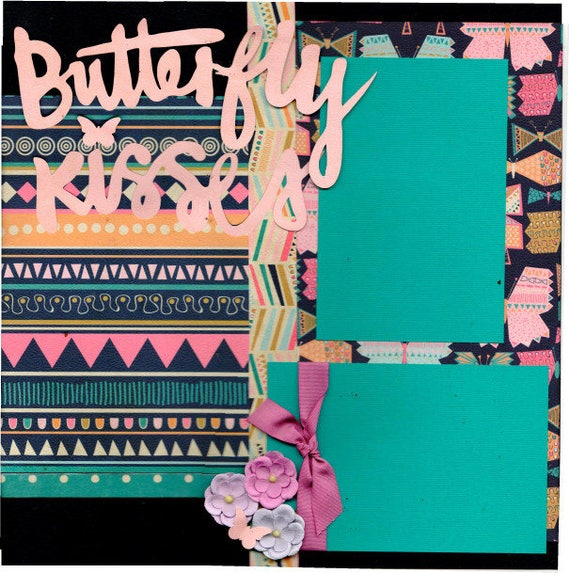Butterfly Kisses 2 Page Scrapbooking Layout Kit