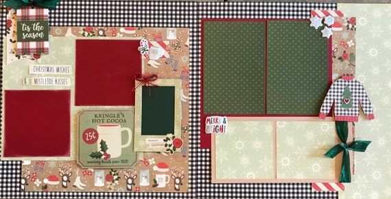 Christmas Wishes and Mistletoe Kisses 2 Page Scrapbooking layout Kit