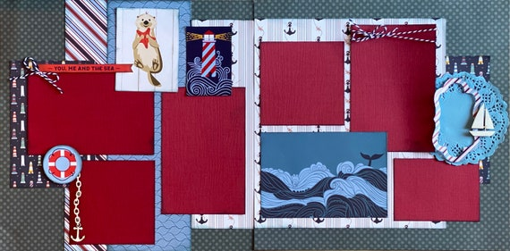 You, Me and the Sea 2 page scrapbooking layout Kit or Premade Scrapbooking Pages