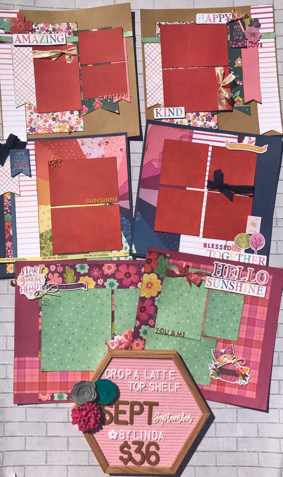 Top Shelf Kit Club September - 3 - 2 Page Scrapbooking Layout Kits -Paige Evans - Truly Grateful