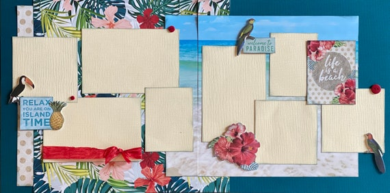 Relax, You're on Island Time 2 Page Scrapbooking Layout Kit or Premade Scrapbooking Pages